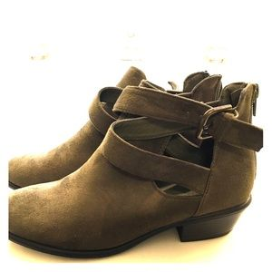 Light Olive Green Suede Ankle Boots